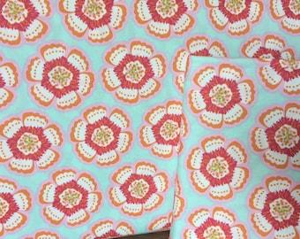 Petal & Plume - Hyperflora Twee- by Bari J. for Art Gallery Fabrics - Aqua Blue Pink Orange Floral - 100% Premium Cotton