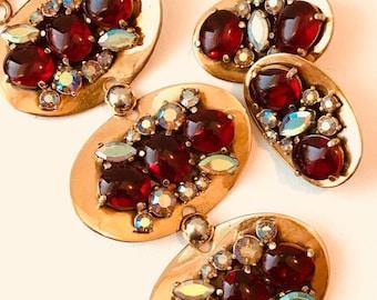 Vintage Schiaparelli Red Cabochon Bracelet and Earring Set 1950's