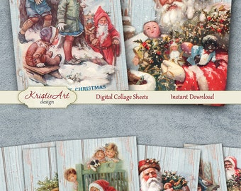 75% OFF SALE Happy Merry Christmas - Digital Collage Sheet Digital Card C195 Printable Download Image Digital Image New Year Atc Cards ACEO