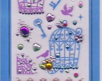 Birdcage Stickers - Key Stickers - Assortment Jewel Rhinestone Seals - Mind Wave Stickers - Reference F055F304