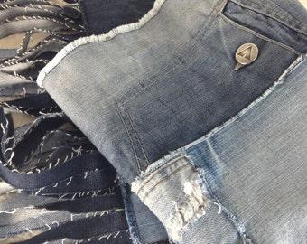 Denim Patchwork Scarf, Shawl, Wrap, Fringed, Rustic Upcycled Denim, Fleece Lining, Boho Chic, Handmade, Gift for Her