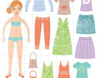 Dress up doll clipart - Hand drawn instant download PNG graphics - 0076
