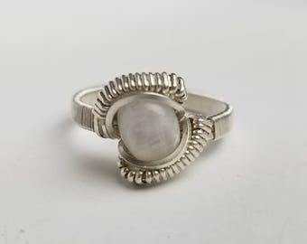 Moonstone Silver Wire Wrap Ring (size 8 1/2 - 9)