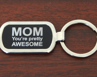 Mom Key chain Gift - Gifts for Mom - Mothers Day Gift - Metallic Keychain - Key ring from Daughter - Son, KLM018