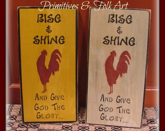Primitive wooden sign, Rooster sign, chicken sign, folk art sign, religious sign, Rise and shine sign, farmhouse sign