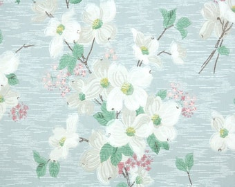 1930s Vintage Wallpaper by the Yard - White and Pink Dogwood Flowers on Blue, Floral Wallpaper