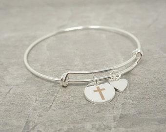 Adjustable Bangle Cross Bracelet, Christian Gift, Confirmation Gift, Bridesmaids Gift, Christian Birthday Present, Catholic Cross Bracelet
