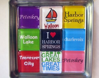 PETOSKEY, Charlevoix, Walloon Lake, Harbor Springs, Traverse City, Great Lakes, Up North Michigan Magnets