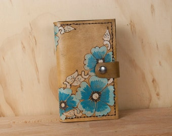 iPhone 6 plus Wallet Case Leather - Flower iPhone Case in Turquoise - Belle Pattern - Handmade for iPhone 5, 6, 6+, SE, 7 or 7+ 8 8+ X