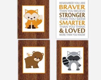 Woodland Baby Boy Nursery Artwork Fox Bear Raccoon You Are Stronger Forest Animals Brown Orange Gray Baby Nursery Decor Toddler Boy Prints