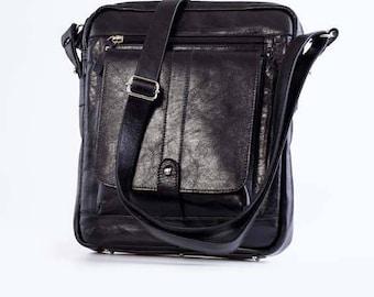 Leather messenger bag Black leather bag Shoulder bag Crossbody bag Leather travel bag Leather organizer Leather tablet bag Personalized bag