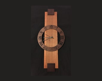 Contemporary Stained Wood Wall Clock