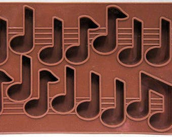 14 Cavity Music Note Silicone Mold Candy Chocolate Ice Fondant Resin Crayon Soap Baking Supplies Jenuine Crafts