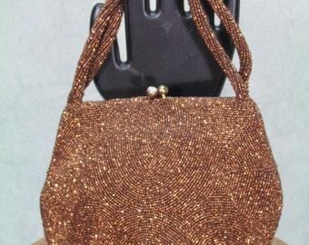 1950s Purse - Jorelle Copper Beaded Vintage Handbag from Belgium Hand Made Designer Hardly Used