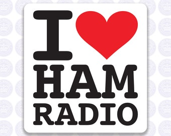 I Love Ham Radio Decal - Amateur Radio Decal - Bumper Sticker Radio Ham - I Heart Ham Radio Laptop Decal - Permanent or Removable