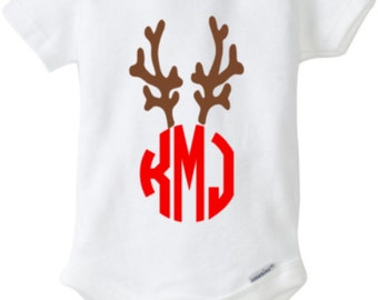 Christmas outfit, christmas shirt, Antler Monogram, Reindeer Outfit, Christmas, Snap-tee, Snapsuit, Bodysuit, Creeper, or one-piece