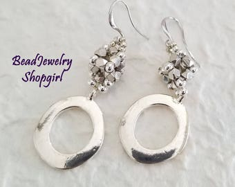 Silver Cube and Circle Dangling Earrings