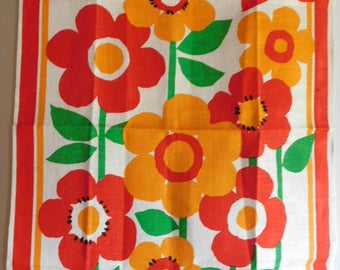 Vintage Kitchen Towel featuring Bright Flowers