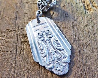 Silverware necklace pendant, art deco style, choice of silver chain, free gift box