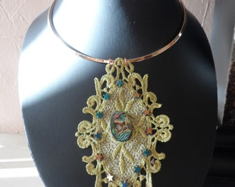 Gold Lace with Abalone and Hematite Stars Necklace