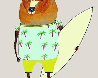 Surfer Dude Bear. surfer print, wall art, kids art print, surf decor, children's art print
