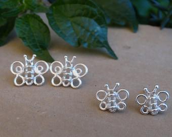 Butterfly earrings, Butterfly studs, Animal earrings, Sterling silver stud earrings, Dainty earrings, Tiny earrings, Women earrings, Gifts