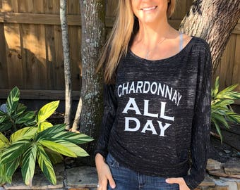 Chardonnay All Day - Flowy Long-Sleeve Off Shoulder T-Shirt