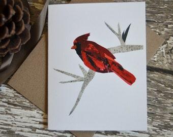 Cardinal Card of Original Collage