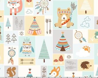 Wilderness Baby Fabric, Fox, Bear, Teepee, Owl, Studio E Camp-A-Long Critters 4002 66, Woodland Animal Quilt Fabric, Cotton Yardage