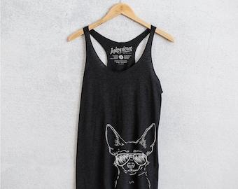 Amos the Chihuahua - Tri-Blend Racerback Tank - 7 Color Options - Dog Mom Shirt, Dog Lover Gift, Dog Mama TShirt, Love My Dog