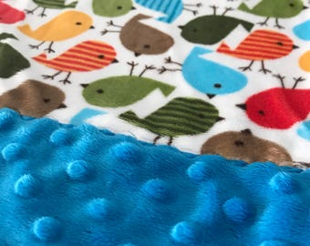 Travel Pillowcase - Multi Color Birds Print Minky with Dark Turquoise Dimple Dot Minky Border - great for a Toddler or Travel Pillow