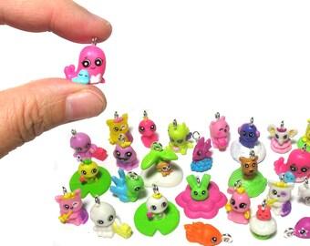 Kawaii Charms - Tiny Animal Charms - Musical Fish Underwater Creatures Miniature Charms - Kawaii Grab Bag - Cute Stuff  - Set  06T