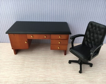 1:12 Scale new dolls house miniature desk +chair