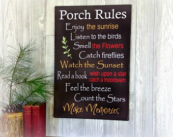 Porch Rules Gallery Wrap Canvas Print - Gallery Wrap Canvas Porch Rules Sign - Canvas Porch Rules Sign - Porch Sign - Porch Decor