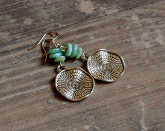 Silver earrings with Amazonite Mandala Mint Turquoise