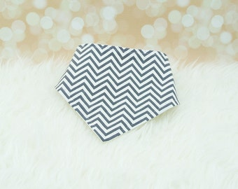 Baby Drool Bib (Tiny Grey Chevron/Zigzag) ||| bibdana, baby shower gift, drool bib, dribble bib, drool bandana, special needs bib, bibdanna