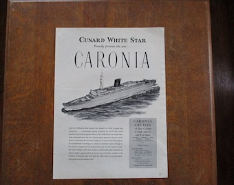 1948 Original Vintage Cunard White Star presents Caronia ad