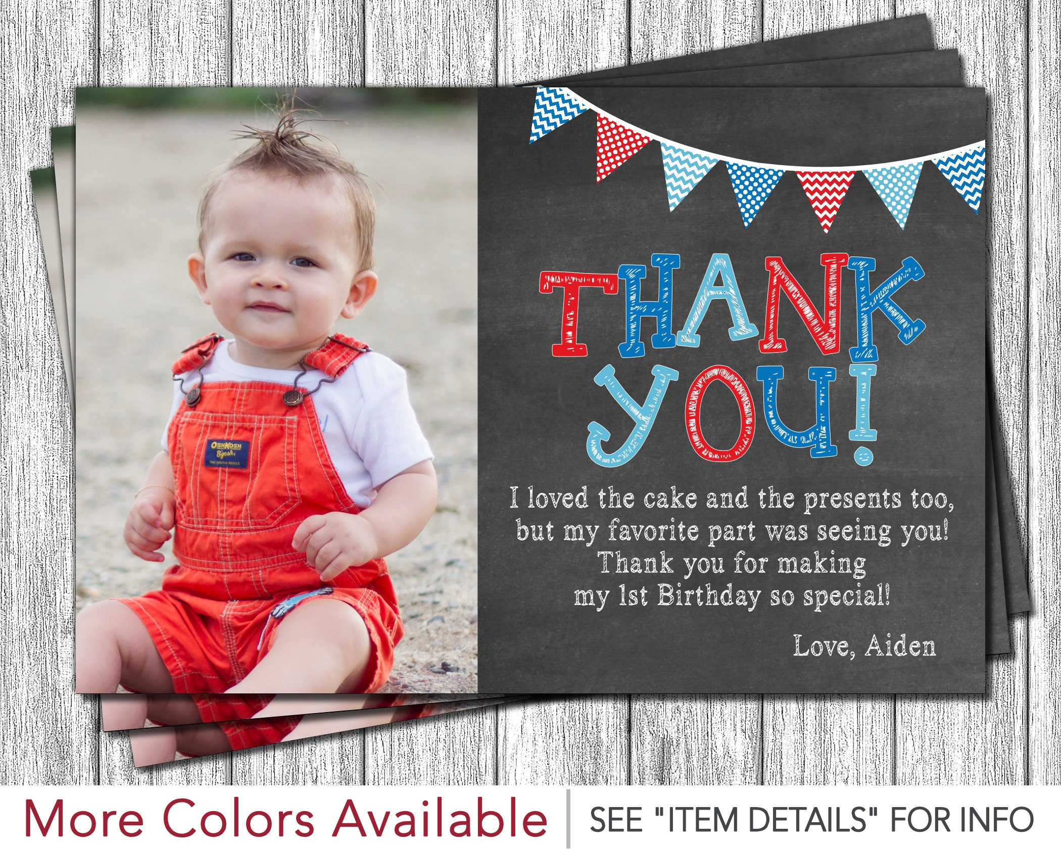 First birthday thank you card 1st birthday chalkboard thank zoom bookmarktalkfo Gallery