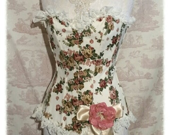 "SALE  FLORAL Corset 28"" Waist Cotton Overbust  Burlesque Lolita  Wedding By Ophelias Folly"