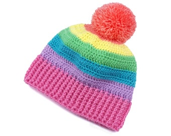 Pastel Rainbow Hat, Pom Pom Beanie, Crochet Beanie, Striped Bobble Hat, Multicolor Hat, Womens Hat, Pastel Aesthetic, Fairy Kei Kawaii Hat