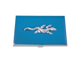 Lizard Business Card Case Inlaid in Hand Painted Enamel Turquoise Opaque Personalized and Custom Color Options