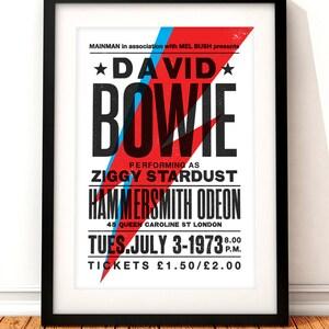 David Bowie concert poster, David Bowie art print, music inspired print, concert print, Ziggy Stardust, David Bowie, vintage Bowie poster