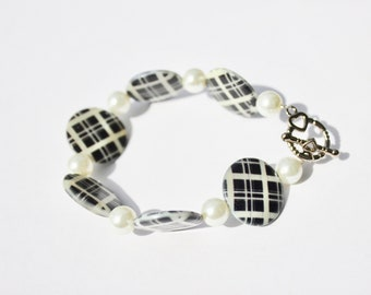 Black & White Plaid Bracelet with Glass Pearl Accent Beads