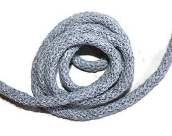 5 mm Gray Cotton Rope = 5 Yards = 4.57 Meters of Elegant Cotton Braided Cord Bulky Yarn Super Bulky Yarn Macrame Cotton Cord