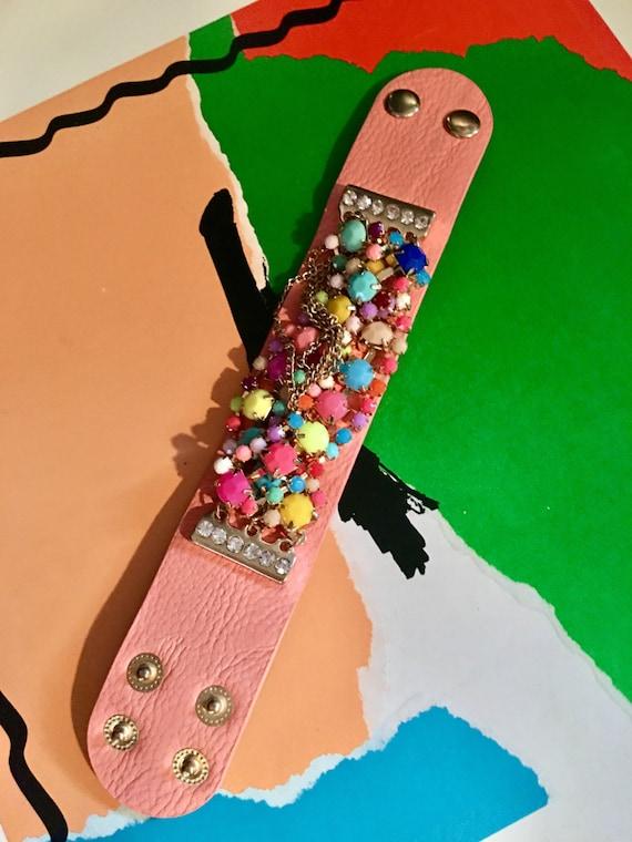 Beaded POP Pastel & Fluorescent beaded peachy salmon leather glammy fioricci styled unsigned punk glam new wave cuff bracelett
