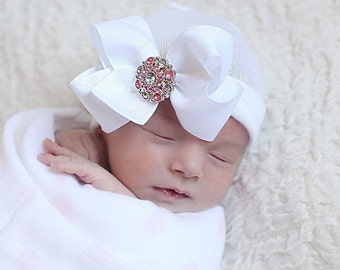 Baby girl hat baby girl clothes newborn girl hat newborn photo prop coming home outfit baby girl hat with bow infanteenie beanie