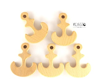 Toy teether ANCHOR natural wood untreated, sensory toys,shower gift, baby teething toy, baby teether, eco-friendly toy, anchor pendant