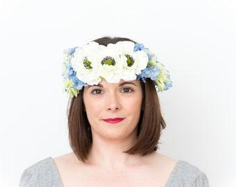 Snow Queen; Flower Crown, Floral Crown, Festival Headpiece, Boho Wedding, Wedding Flower Crown