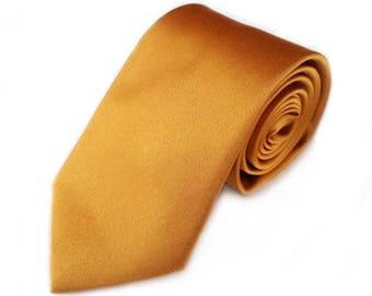 """Gold Wedding Tie Groomsman Slim Dark Necktie 2.75"""" Regular Slim Ties Groomsmen Neckties Best Man Bronze Gold Honey Copper Winter Wedding"""