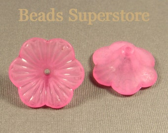 FINAL SALE 21 mm x 10 mm Magenta Petunia Lucite Flower Bead - 10 pcs